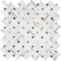 Interceramic Marble Mosaic Lattice Basketweave Tile ...