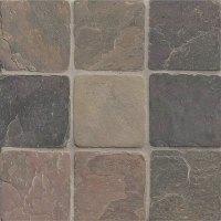 Tilecrest Slate Stone 4 x 4 Rajah Multicolor Tumbled