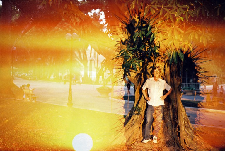 My father was standing in the shade of ancient trees in Bach Thao Park, Hanoi, is overload by a pattern of cactus on the desert in Phan Rang, Viet Nam on August, 2013.
