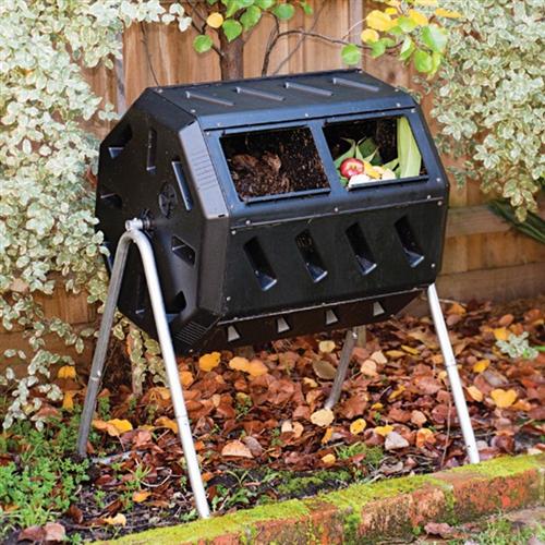 Rotating 37Gallon 2Chamber Tumbling Compost Bin Tumbler