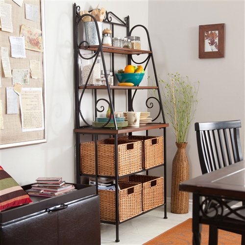 Durable Metal And Wood Bakers Rack With Classic Wicker