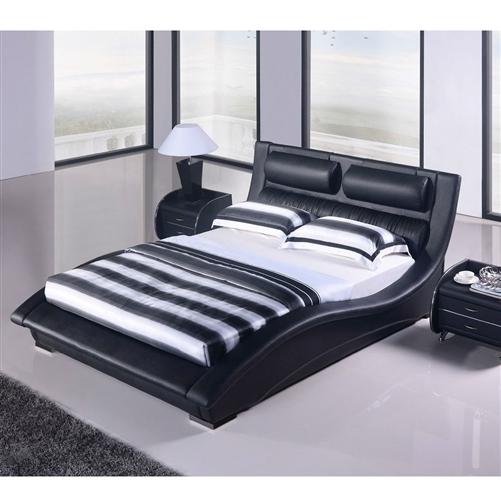King Size Modern Black Faux Leather Upholstered Platform