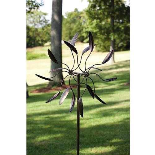 6Ft Tall Bronze Finish Metal Wind Spinner Spinnin