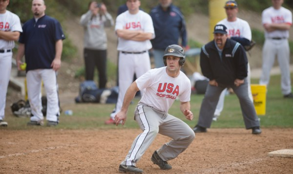 Baserunning action at USA MNT Selection camp Saturday in Irvine CA (photo by Maddy Flanagan, click to enlarge)