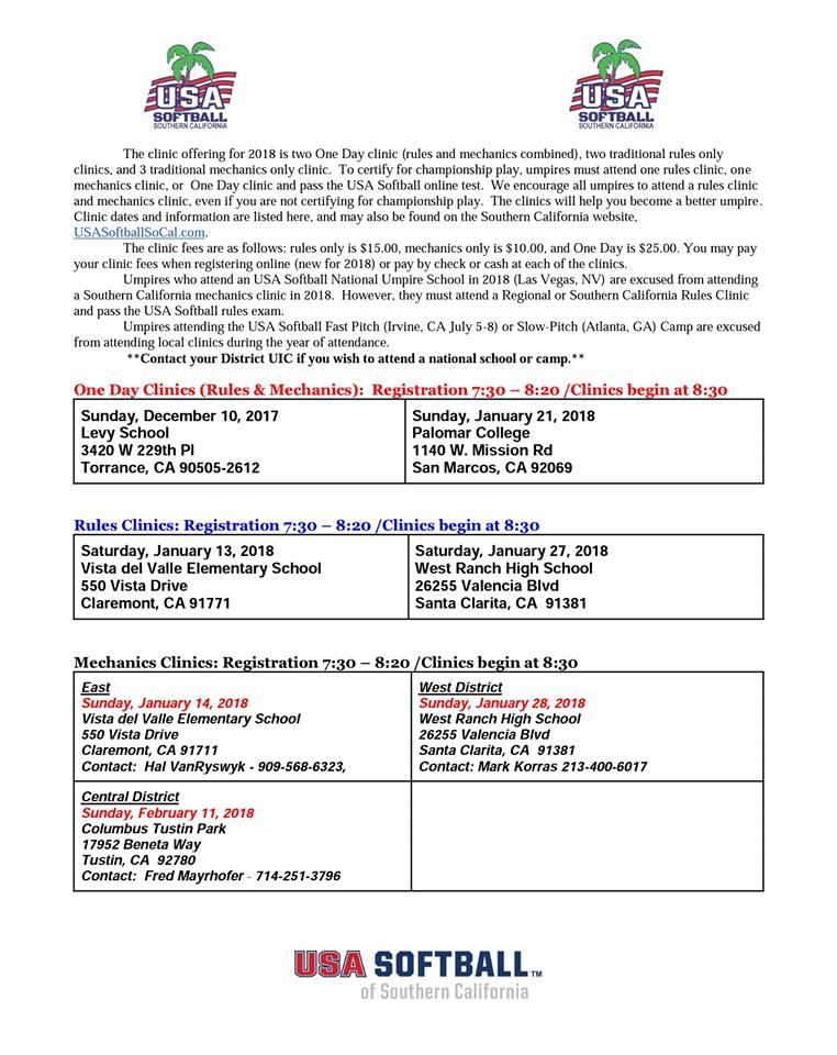 USA Softball Umpires – So Cal – Certification clinics – Dec 2017-Feb