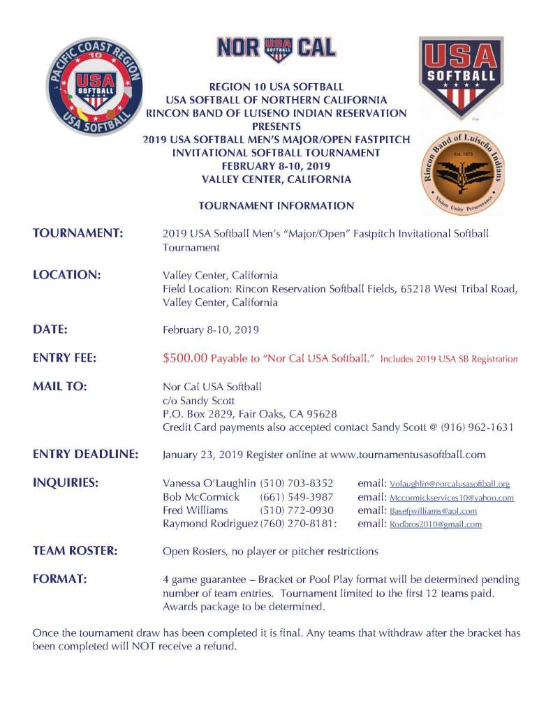 "2019 USA Softball Men's ""Major/Open"" Fastpitch Invitational"