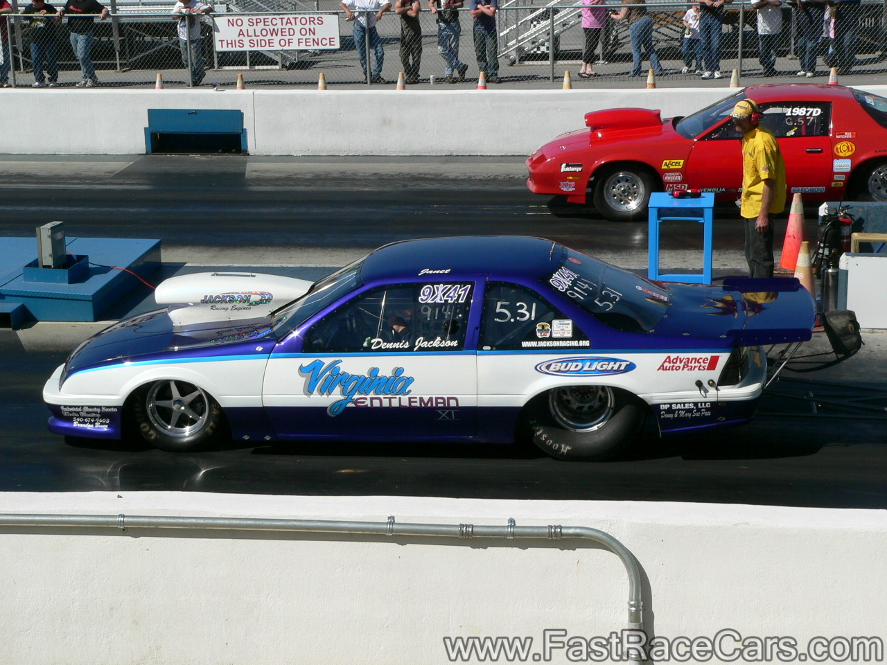 hight resolution of blue and white chevy beretta drag car
