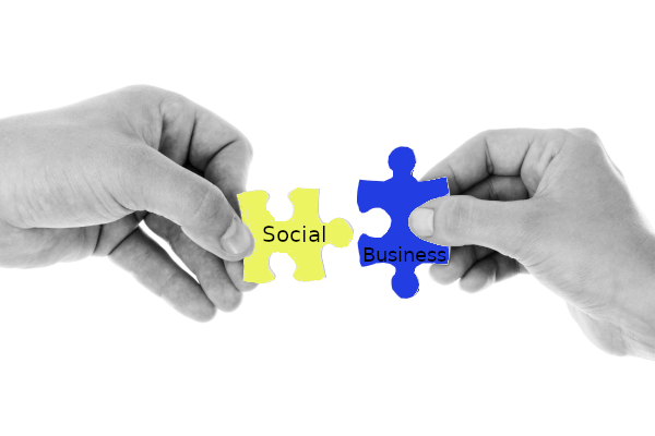 Image showing puzzle pieces labeled Social and Business