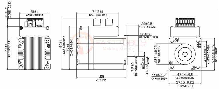 Nema23 180w 36VDC 57TAT180W Integration Servo Drive+Motor