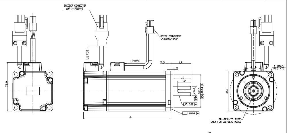 CNC Servo Motor Brand 220V Torque 1.27NM Delta AC Servo