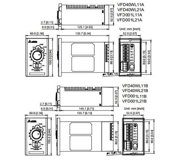 Delta Inverter 1Phase 220V 0.1kW VFD Drive VFD001L21A 0