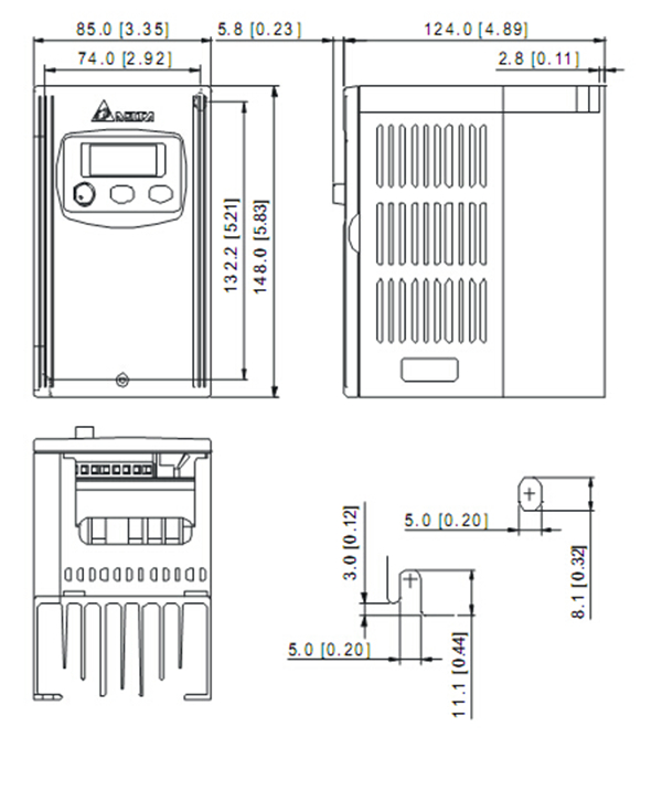 Delta Inverter VFD drive VFD007S21A 1Phase 220V 0.75kW 1HP
