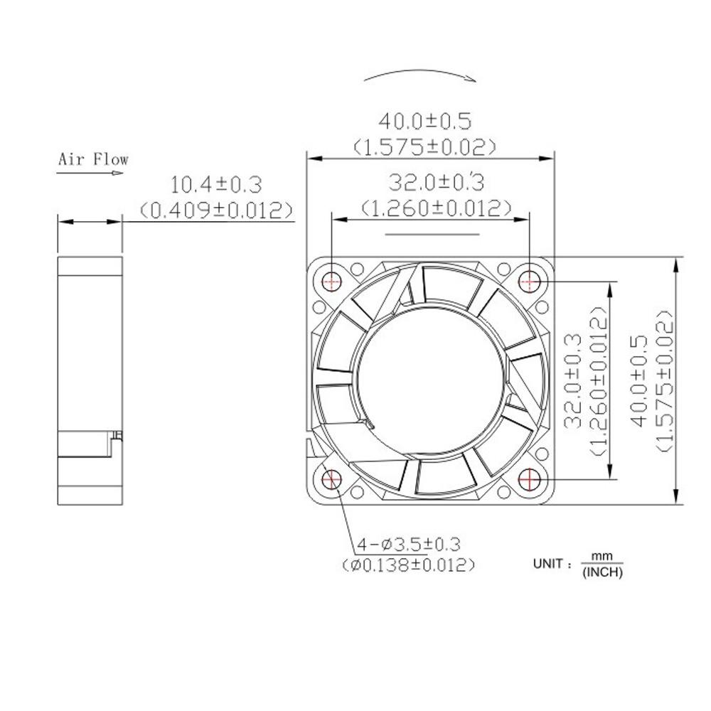 Cooling Fan DC12V 40*40*10mm 3Pin Heatsink 6000RPM for DIY