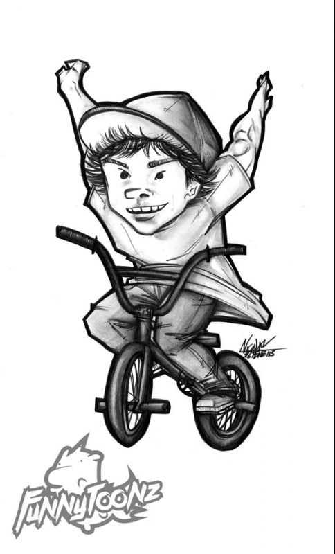 Find the pro riders in the Funny Toonz illustrations. Up