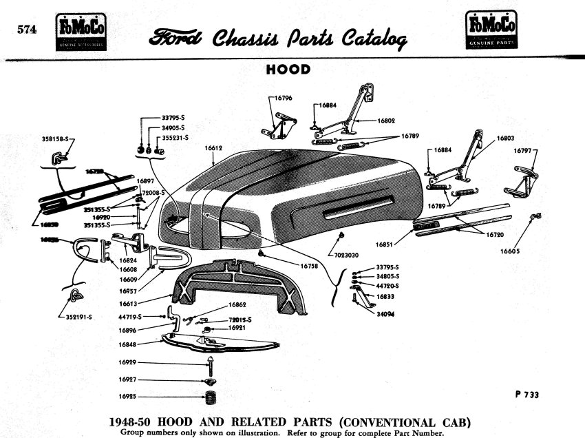 1950 Ford truck hood latch