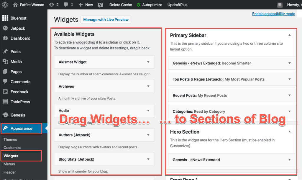 how to start a blog: customize page sections with widgets