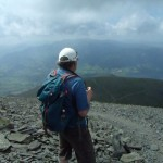 Karl taking in the wonderful view of the Ullock Pike summit and ridge.