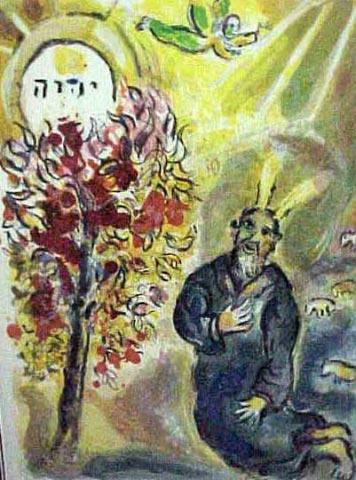 moses at the burning bush - chagall