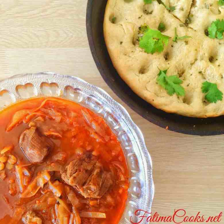 Focaccia with Iraqi Cabbage Soup