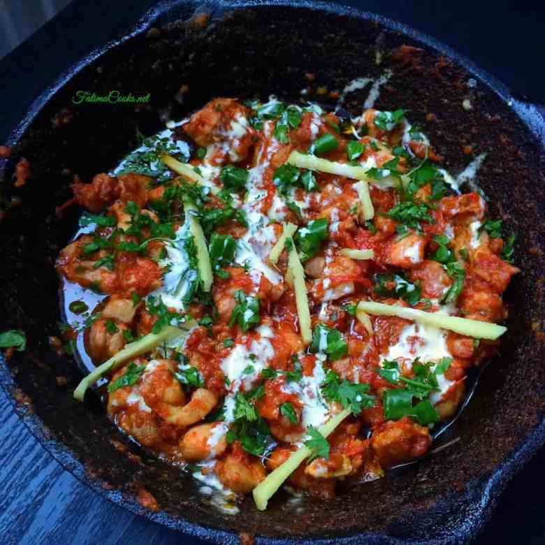 Malai Chicken Karahi - Creamy Stirfried Chicken Curry in a Tomato and Ginger Sauce