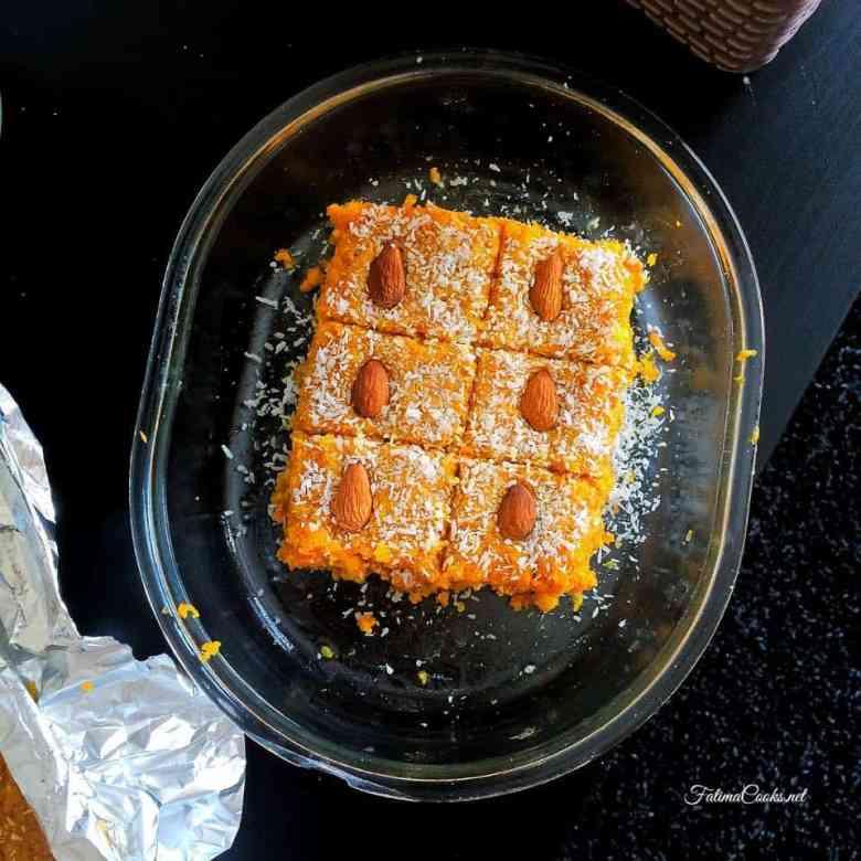 Gajar Ki Barfi - Carrot Fudge - A traditional Indian/Pakistani Mithai (dessert)