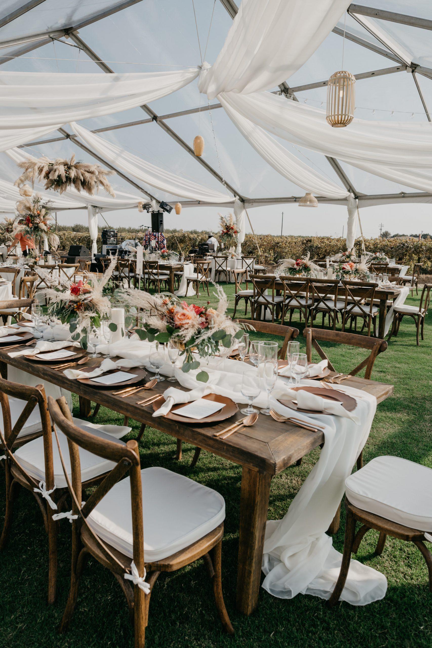 Evanelle Vineyards Wedding Reception Tables, image by Fatima Elreda Photo
