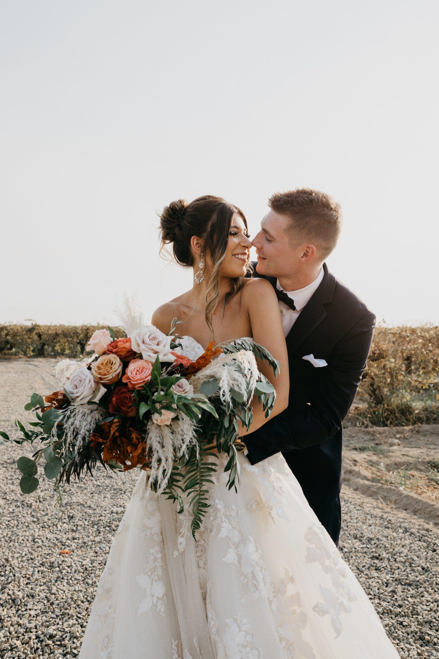 Evanelle Vineyards Wedding Bride and Groom Portraits, image by Fatima Elreda Photo