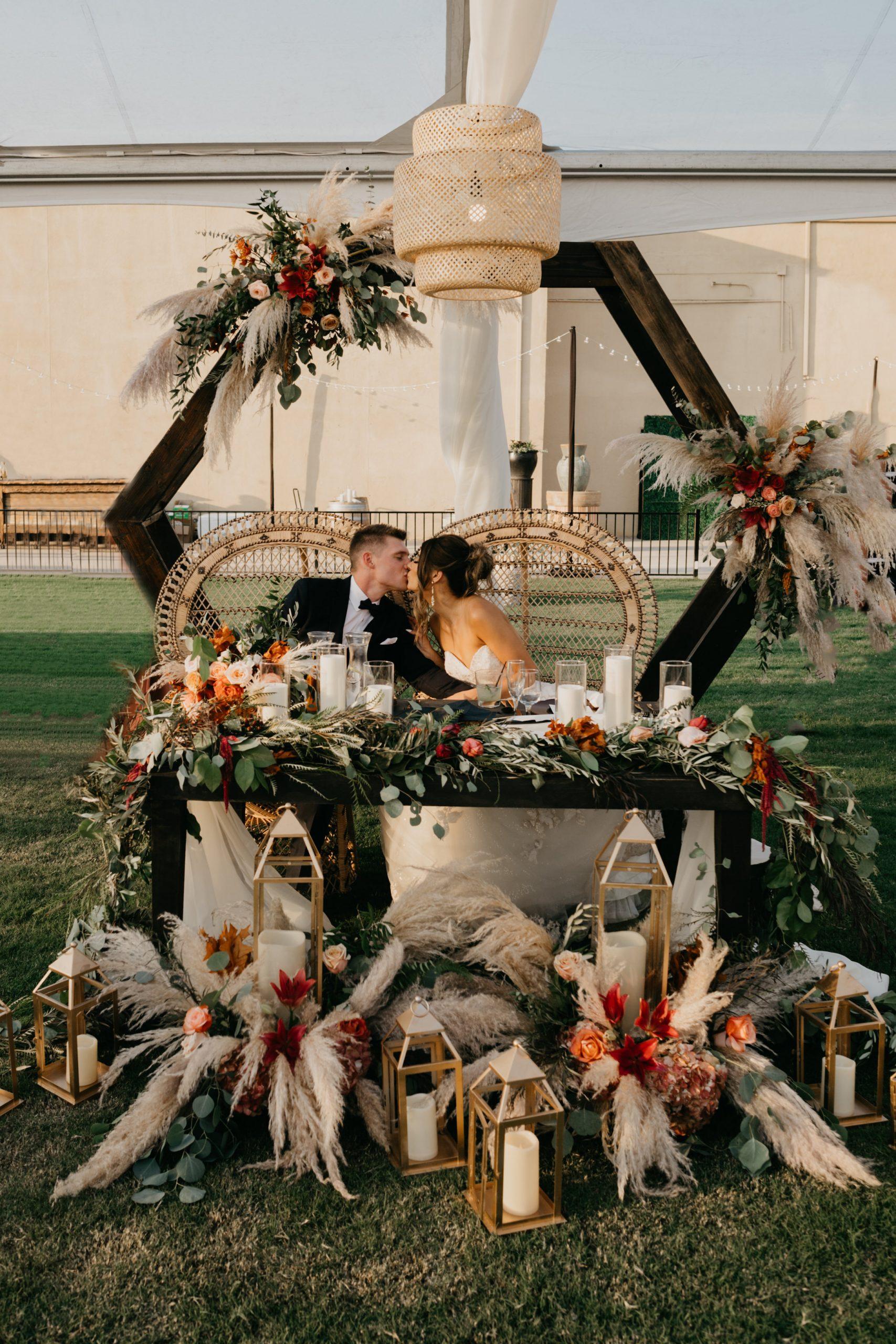 Evanelle Vineyards Wedding Bride and Groom and Sweetheart Table, image by Fatima Elreda Photo
