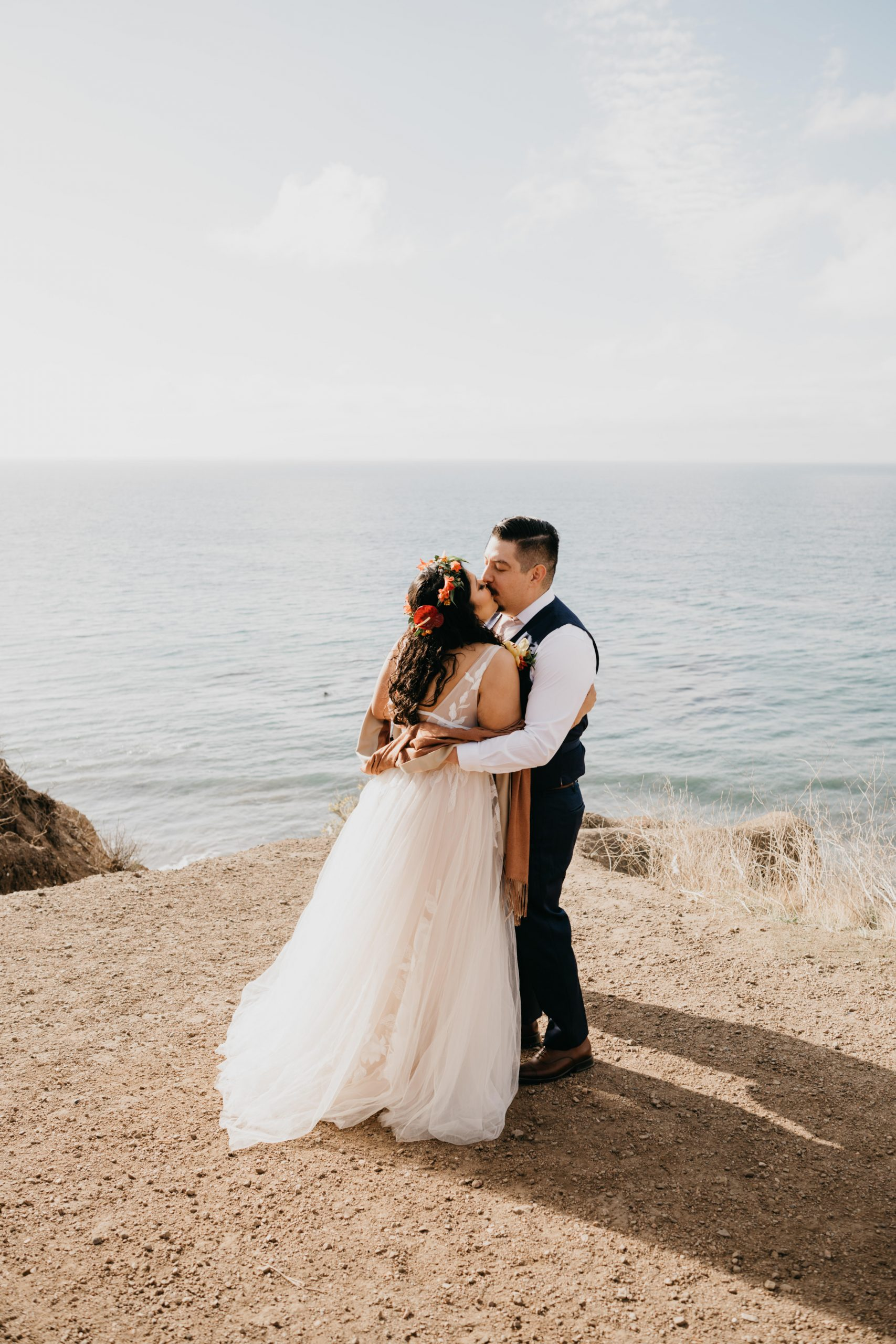 El Matador Beach Elopement in Malibu first kiss, image by Fatima Elreda Photo