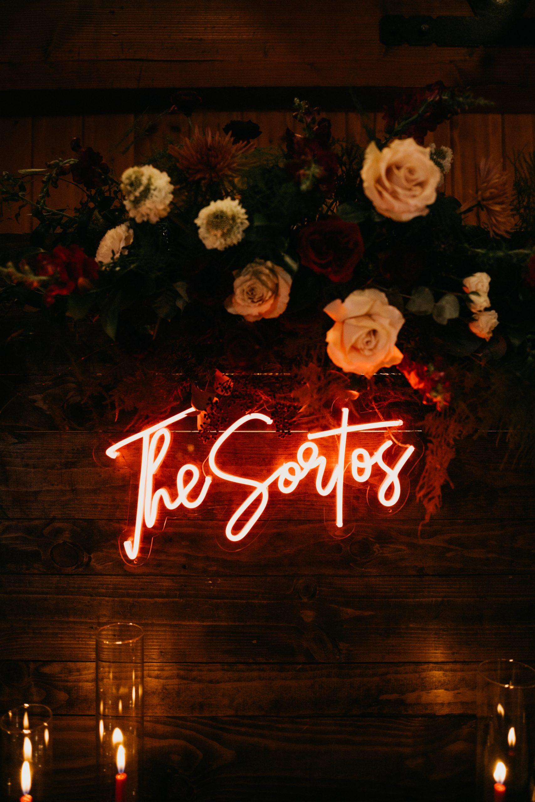 Neon Wedding Sign, Arrowhead Pine Rose Wedding, image by Fatima Elreda Photo