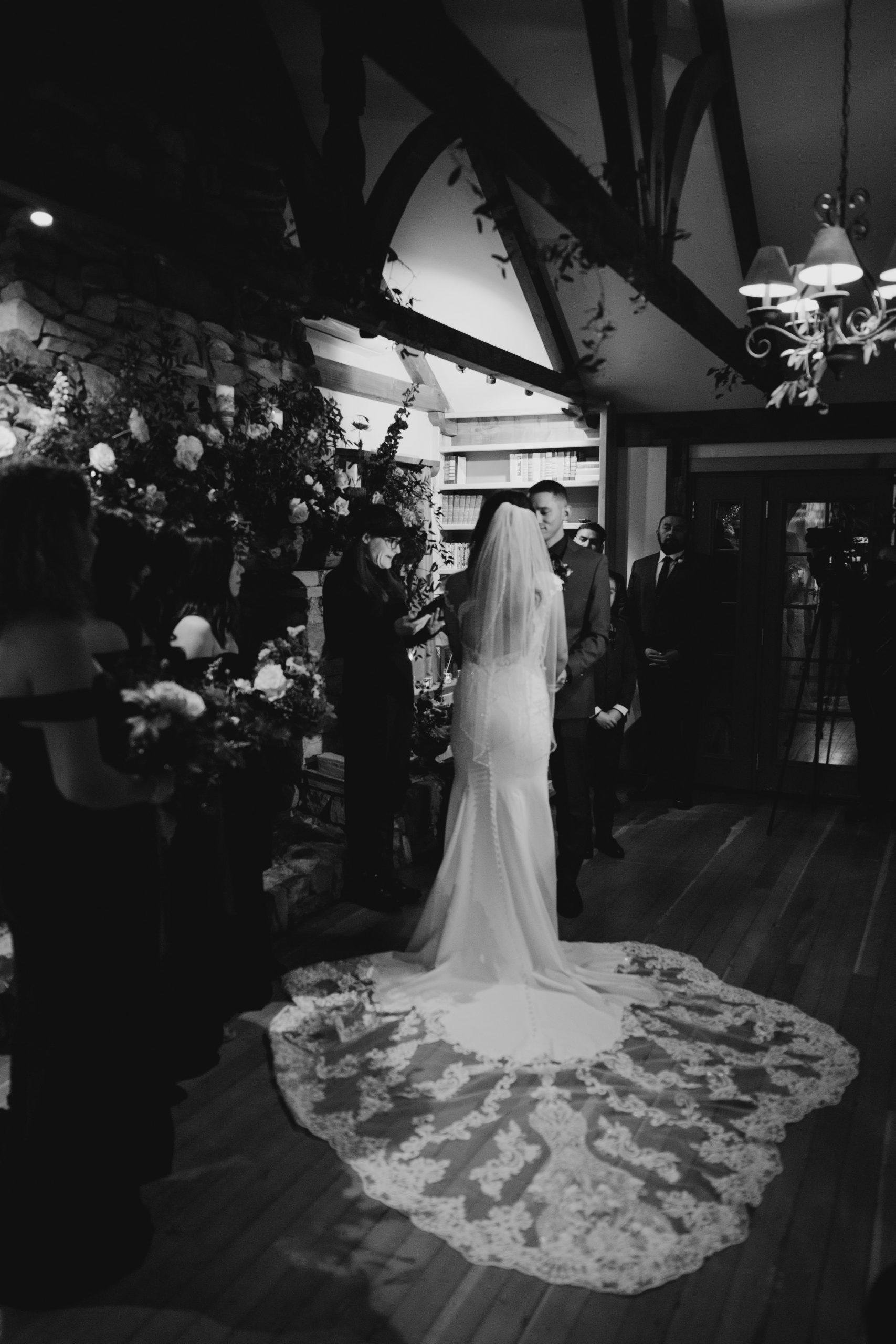 Arrowhead Pine Rose Wedding Ceremony Black and White, image by Fatima Elreda Photo