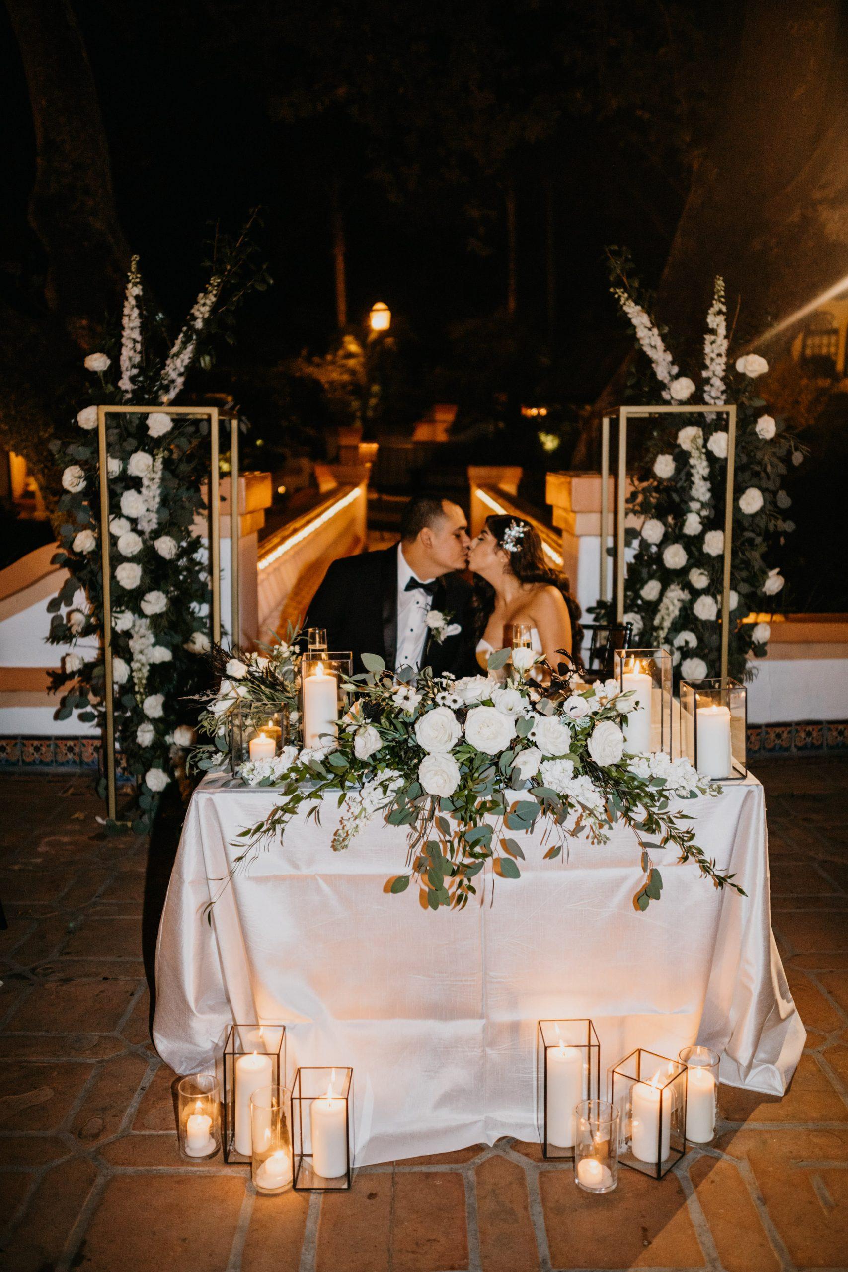 Rancho Las Lomas Wedding Sweetheart Table, image by Fatima Elreda Photo