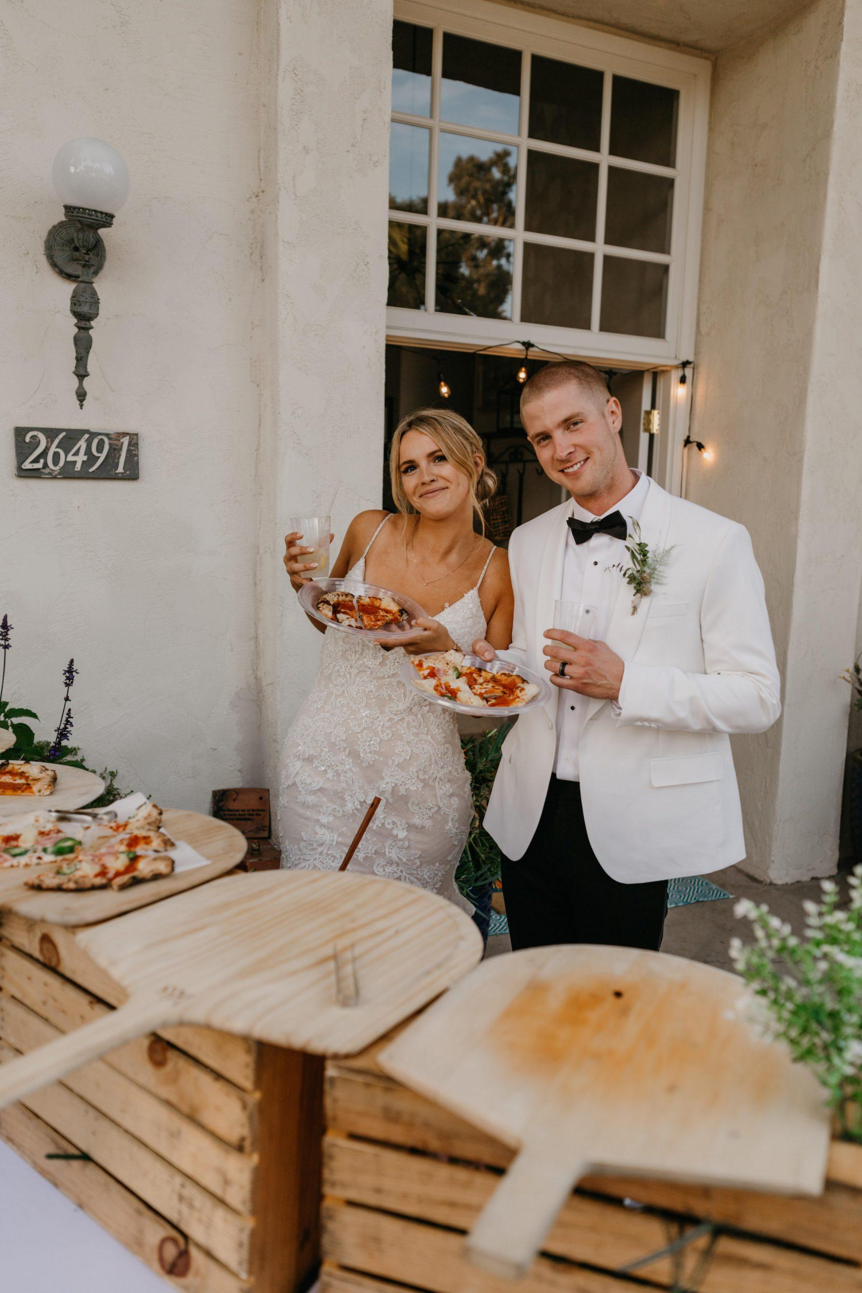 Pizza Buffet food in Laguna Beach Backyard Wedding, image by Fatima Elreda Photo