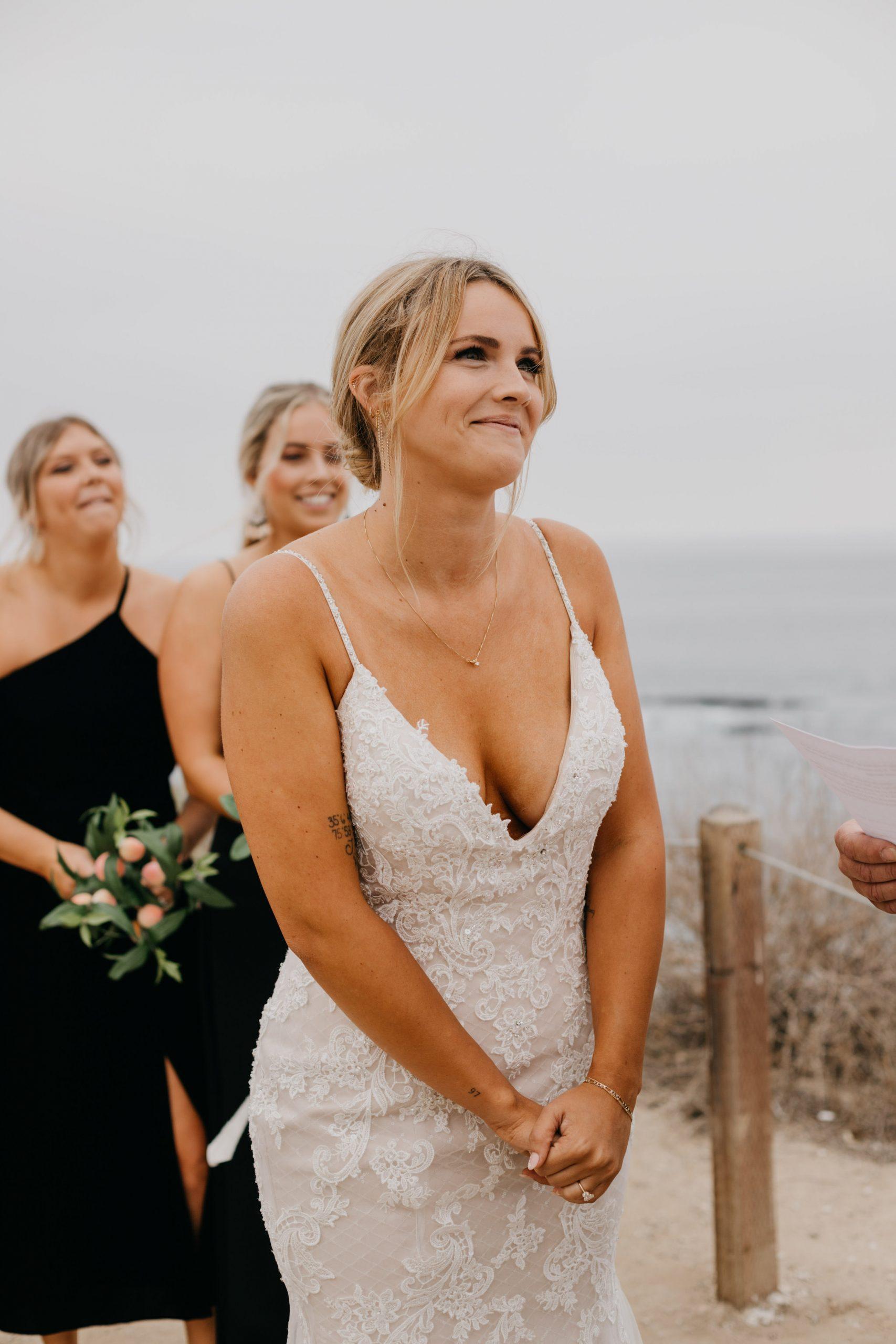 Bride in Ceremony in Crystal Cove State Park Wedding in Laguna Beach, image by Fatima Elreda Photo