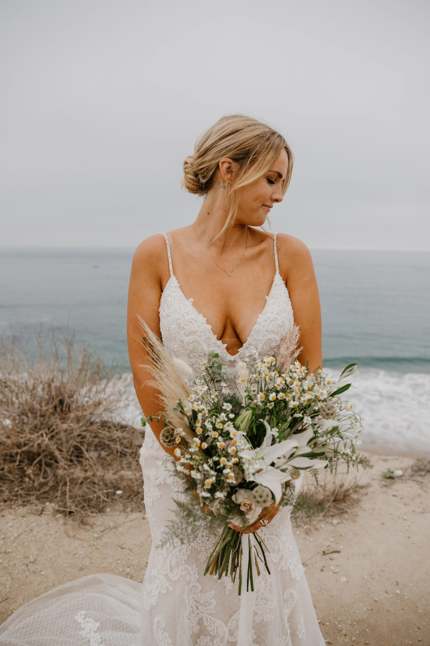 Bride Portrait in Crystal Cove State Park Wedding in Laguna Beach, image by Fatima Elreda Photo