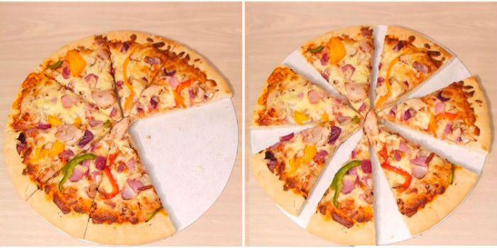 Como pegar o maior pedaço da pizza sem que as pessoas percebam?