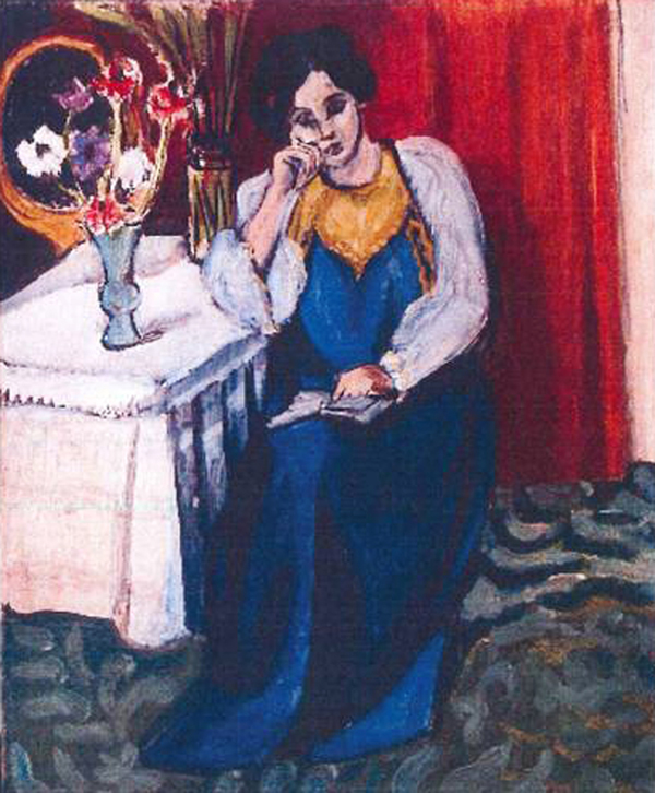 """FILE -This is an unfated photo released by the police in Rotterdam, Netherlands, on Tuesday, Oct. 16, 2012, shows the 1919 painting 'Reading Girl in White and Yellow' by Henri Matisse.  A Romanian museum is analyzing ashes found in a stove to see if they are the remains of seven paintings by Picasso, Matisse, Monet and others that were stolen last year from the Netherlands, an official said Tuesday July 16, 2013.   Matisse's """"Reading Girl in White and Yellow"""" was one of the stolen paintings.  (AP Photo/Police Rotterdam, File)"""