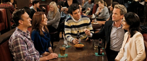 """LOS ANGELES - AUGUST 29: """"Who Wants To Be A Godparent""""  """""""" When Lily and Marshall can't decide on godparents for Marvin, they put the gang to the test to see who would make the best one, on HOW I MET YOUR MOTHER, Monday, Oct. 15 (8:00-8:30 PM, ET/PT) on the CBS Television Network. Pictured left to right: Jason Segel, Alyson Hannigan, Josh Radnor, Neil Patrick Harris and Cobie Smulders  (Photo by Cliff Lipson/CBS via Getty Images)"""