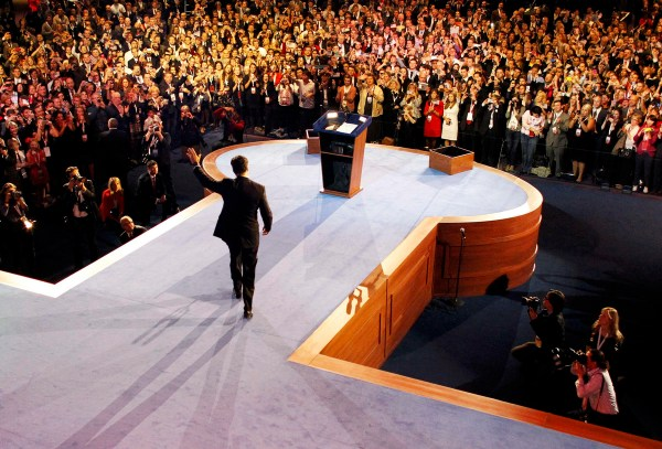 Republican presidential nominee Mitt Romney delivers his concession speech during his election night rally in Boston, Massachusetts, November 6, 2012. (Rick Wilking/Reuters)