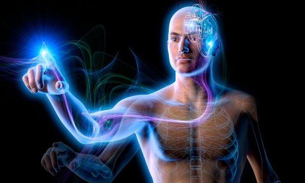 Energy flowing from cogs in man's brain through arm to pointing finger --- Image by © Oliver Burston/Ikon Images/Corbis