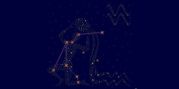 Zodiac sign Aquarius on a background of the starry sky with the scheme of stars in the constellation vector illustration