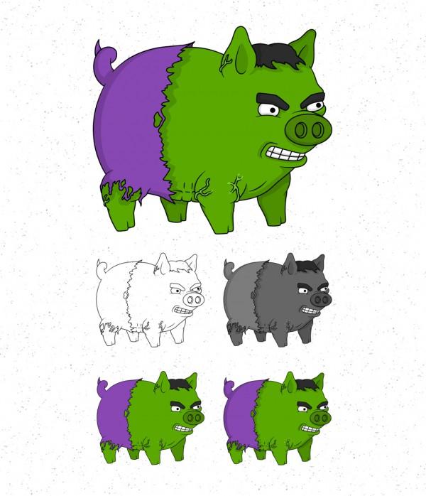 Avengers Pigs By Roni Aguiar Hulk 600x698, Fatos Desconhecidos