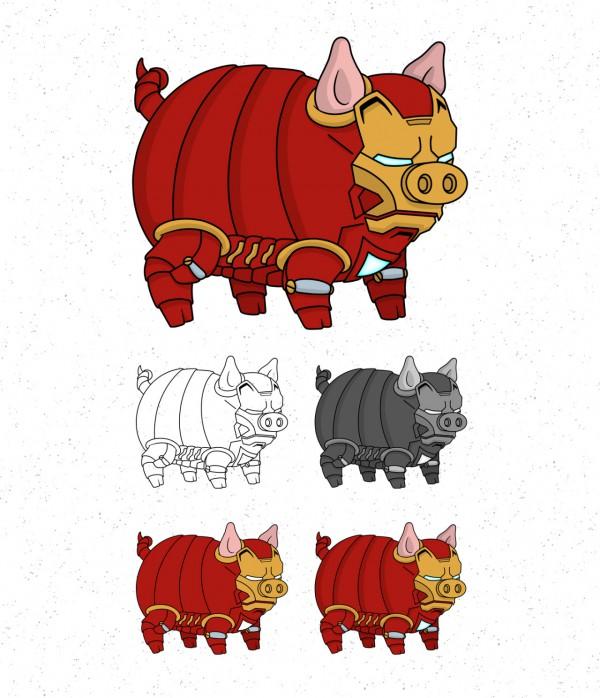 Avengers Pigs By Roni Aguiar Ironman 600x698, Fatos Desconhecidos