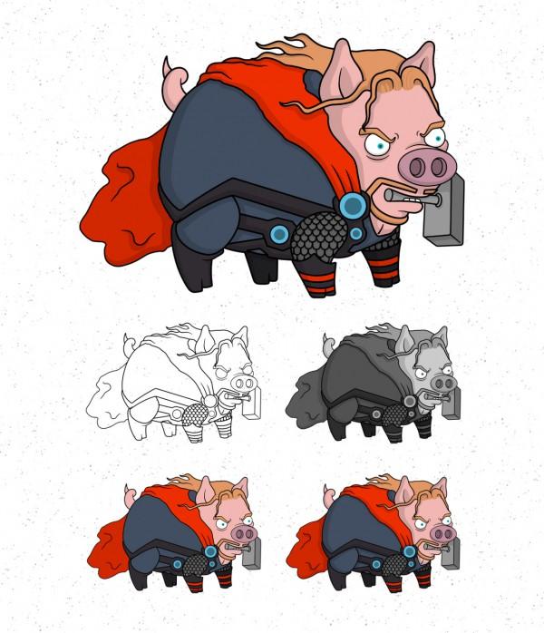 Avengers Pigs By Roni Aguiar Thor 600x698, Fatos Desconhecidos