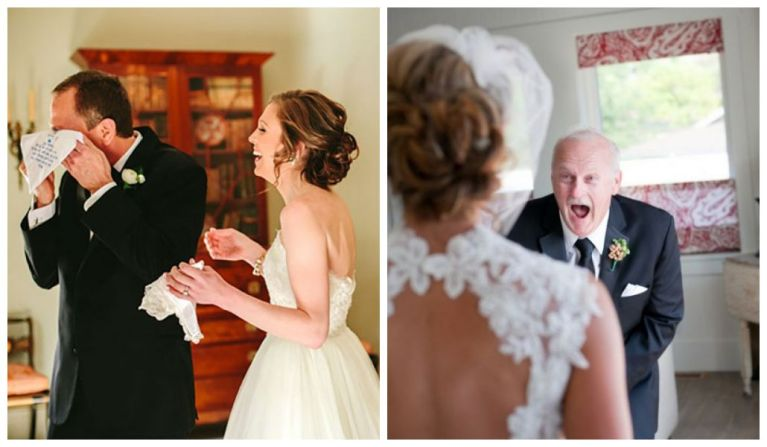 25 imagens de pais que não conseguiram segurar a emoção vendo suas filhas vestidas de noiva