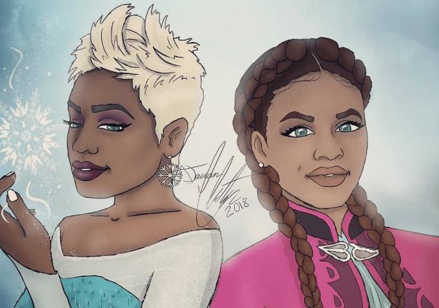 8 imagens que mostram como seriam as princesas da Disney como mulheres negras