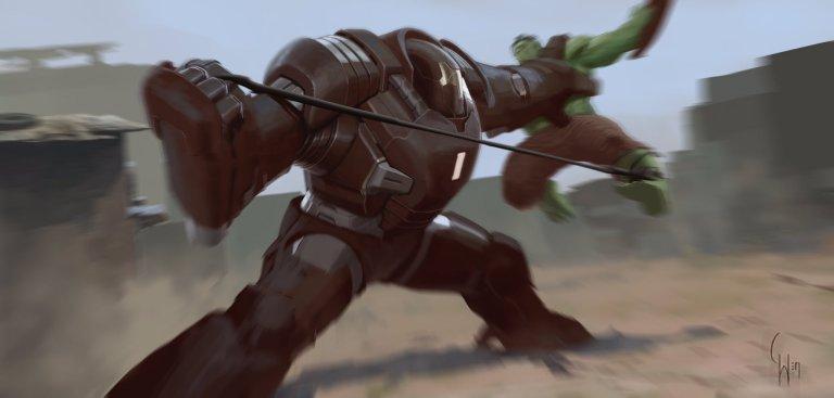 Arte conceitual mostra visual descartado da Hulkbuster