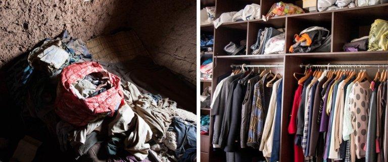 10 imagens que mostram os guarda-roupas de ricos e pobres em diferentes países