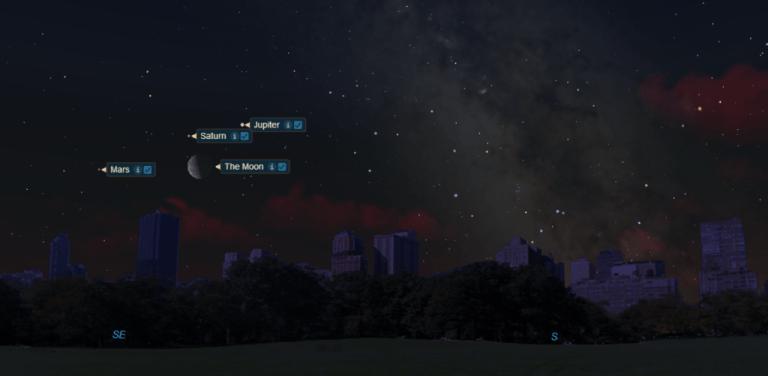 Você poderá ver a Lua brilhando com Saturno, Marte e Júpiter essa semana