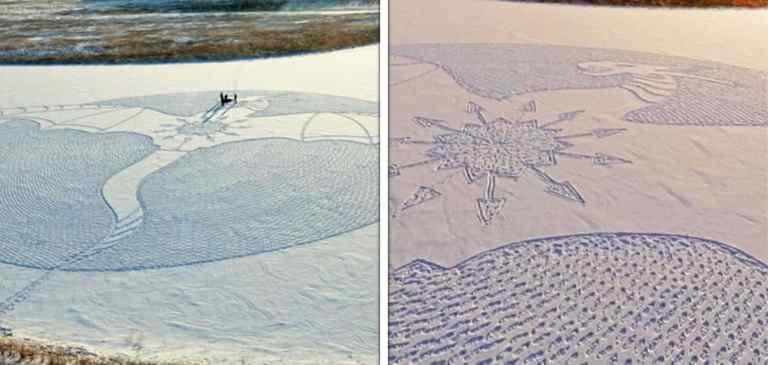 Artista cria gigantes formas na neve usando os pés